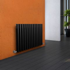 "Revive - Black Horizontal Double-Panel Designer Radiator - 25"" x 32.75"""