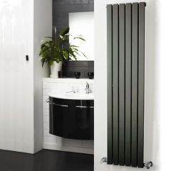 "Sloane - Anthracite Vertical Single Flat-Panel Designer Radiator - 63"" x 14"""