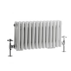"Regent - White Horizontal 3-Column Traditional Cast-Iron Style Radiator - 11.75"" x 23.5"""