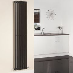 "Revive - Black Vertical Single-Panel Designer Radiator - 70"" x 14"""