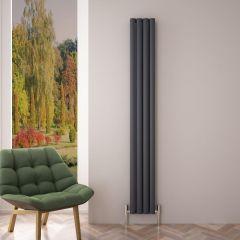 """Revive Air - Anthracite Aluminum Vertical Double-Panel Designer Radiator - 70.75"""" x 9"""""""