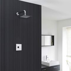 "Concealed Shower System with 8"" Square Shower Head and Sequential Valve"