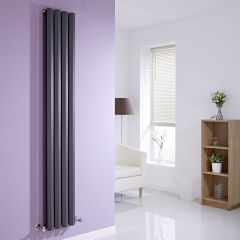 "Edifice - Anthracite Vertical Double-Panel Designer Radiator - 70"" x 11"""