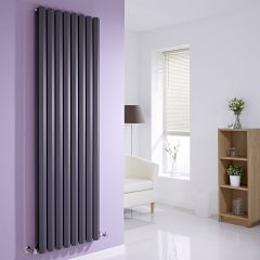 "Edifice - Anthracite Vertical Double-Panel Designer Radiator - 70"" x 22"""