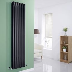 "Edifice - Black Vertical Double-Panel Designer Radiator - 70"" x 16.5"""