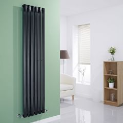 "Edifice - Black Vertical Single-Panel Designer Radiator - 70"" x 16.5"""