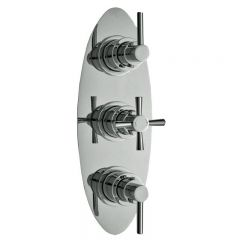 Helix Concealed Thermostatic Triple Shower Valve with Diverter 3 Outlet Options - Oval - Chrome Plated Brass