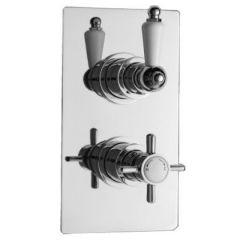 Beaumont Concealed Thermostatic Twin Shower Faucet Valve with Diverter 2 Outlet Options