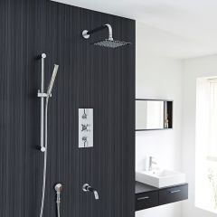 Thermostatic Modern Shower System with Slide Rail Kit and Tub Spout