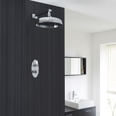 "Beaumont Thermostatic 1 Outlet Shower System with 12"" Apron with Wall Arm"