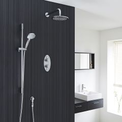 """Quest Thermostatic 2 Outlet Shower System with 8"""" Head with Wall Arm & Multi-function Handshower"""