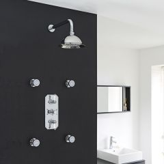 """Beaumont Thermostatic Shower System with 8"""" Round Rose & Arm & 4 Round Jet Sprays"""