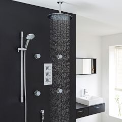 "Kristal Thermostatic Shower System with 12"" Ceiling Head, Handshower & 4 Jet Sprays"