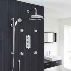 "Traditional Thermostatic Shower System with 12"" Ceiling Apron Head, Handshower & 4 Jet Sprays"