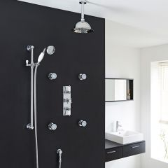 "Beaumont Thermostatic Shower System with 8"" Rose & Ceiling Arm , Handset & 4 Round Body Sprays"