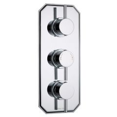 Quest Concealed 2 Outlet Triple Thermostatic Shower Valve (Traditional Plate)