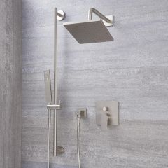 """Arcadia Brushed Nickel Shower System with 8"""" Shower Head and Slide Rail Kit"""