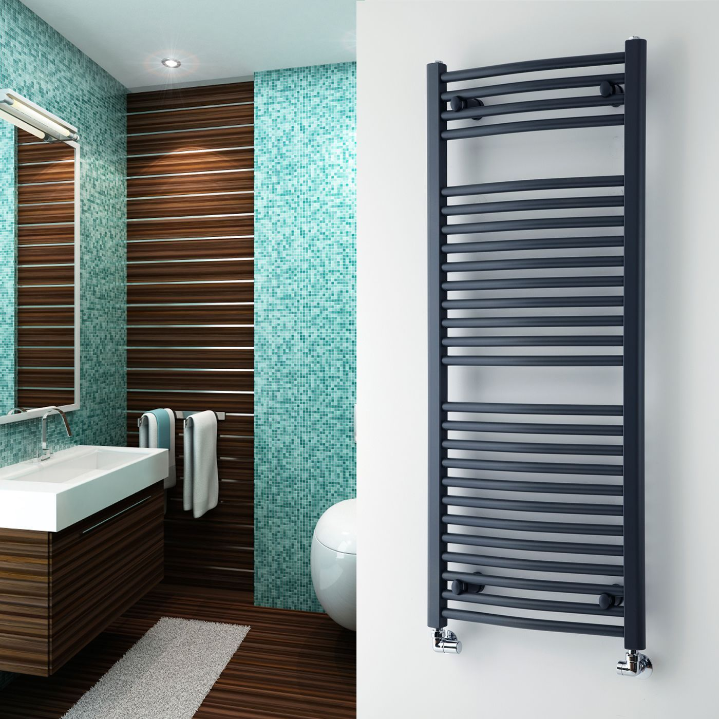 Loa - Hydronic Anthracite Heated Towel Warmer - 47.25\