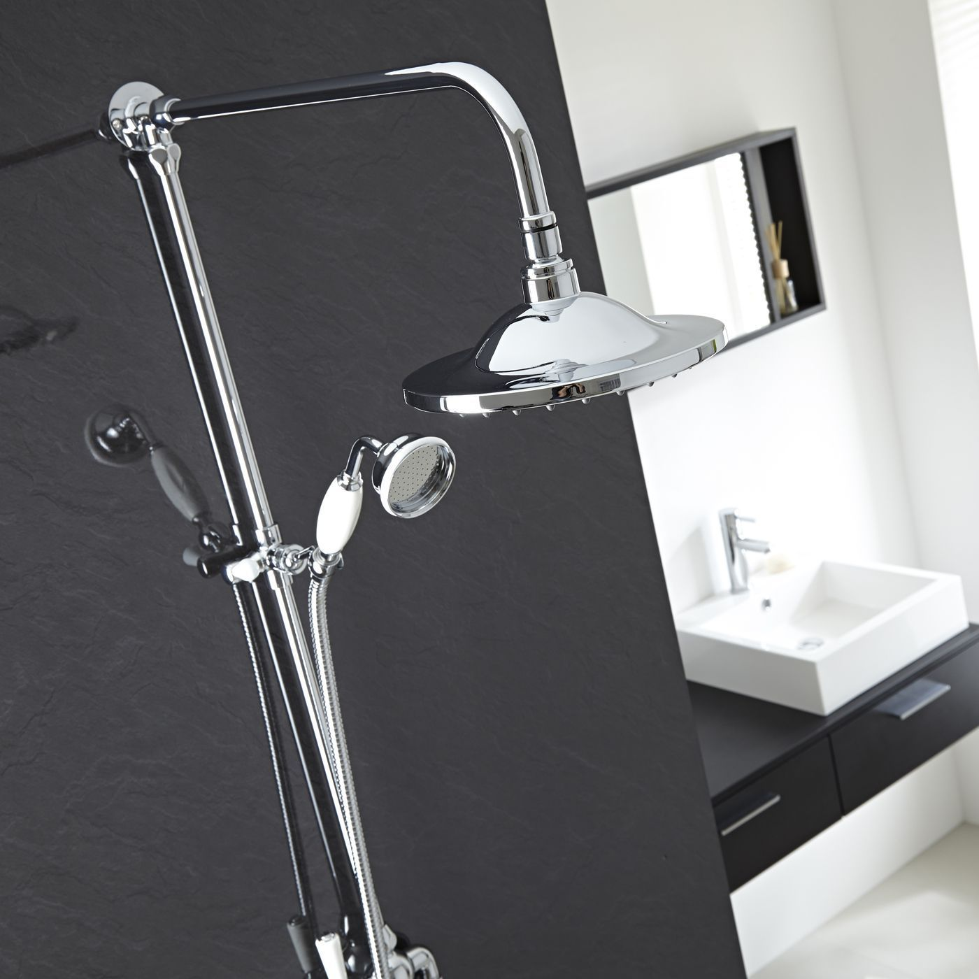 Traditional Chrome Grand Rigid Riser Over Head and Hand Held Shower ...