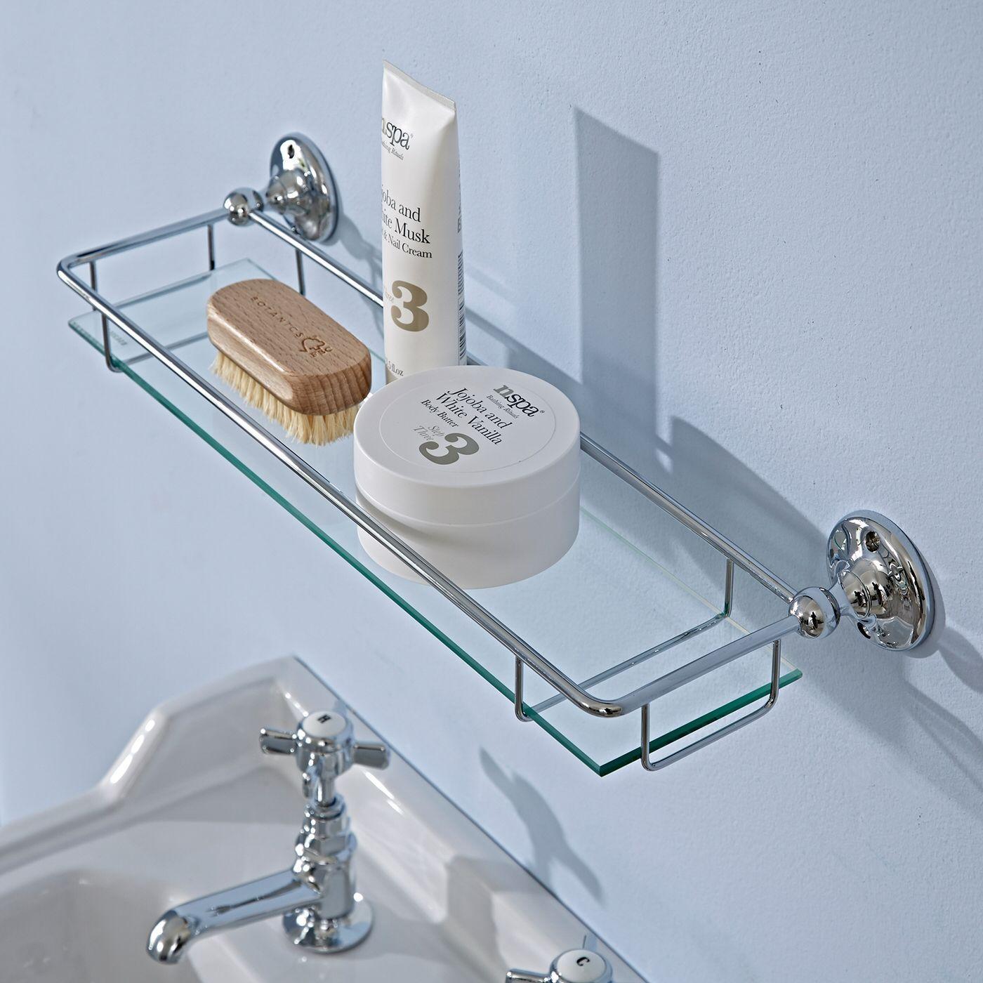 glass gallery shelf chrome finish. Black Bedroom Furniture Sets. Home Design Ideas