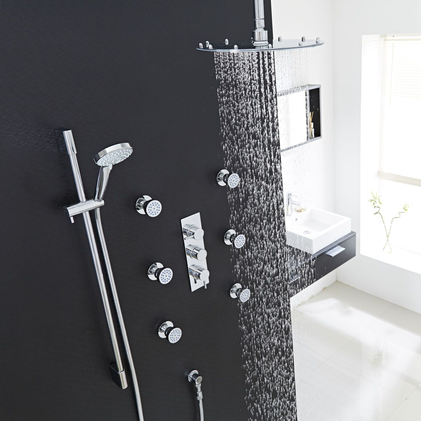 Unique Thermostatic Shower System with Multi-Function Hand Shower & 6  WT65