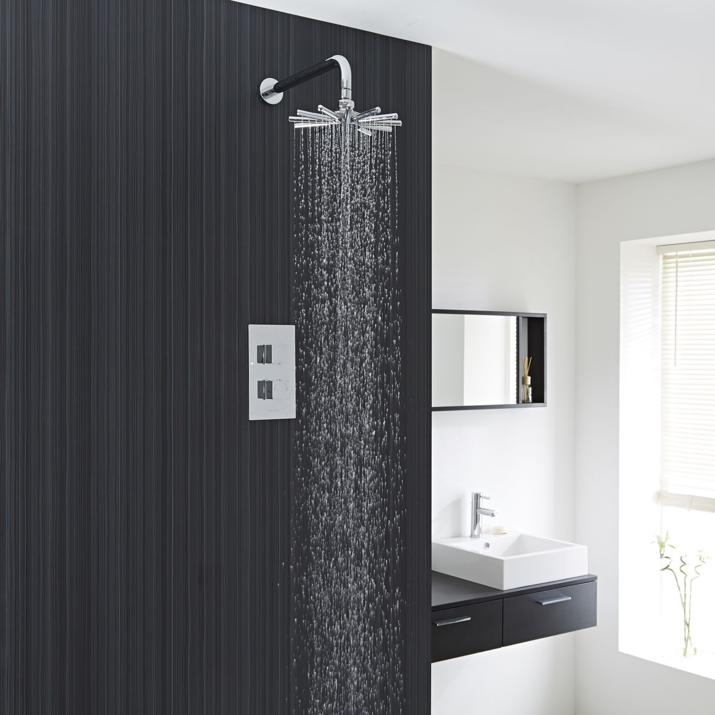 Chrome Concealed Square Thermostatic Shower Faucet valve with ...