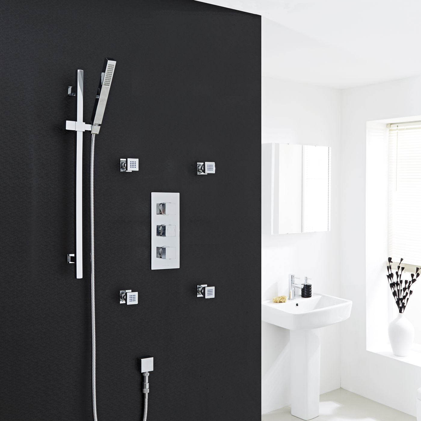Astbury triple concealed thermostatic shower valve and 4 Square Body ...
