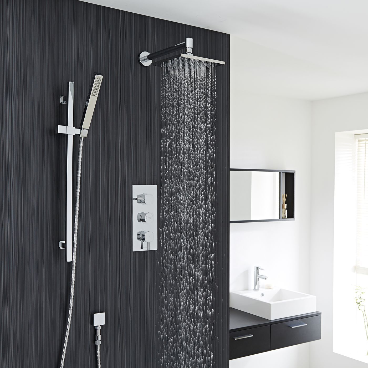 Chrome Square Shower System with Slide Rail Kit, Thermostatic Triple ...