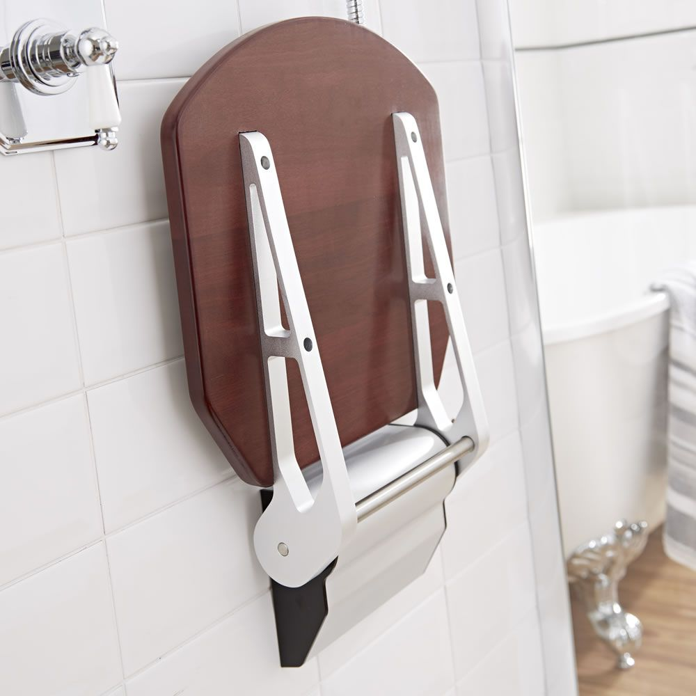 Modern Sapele Folding Shower Seat with Narrow Bracket