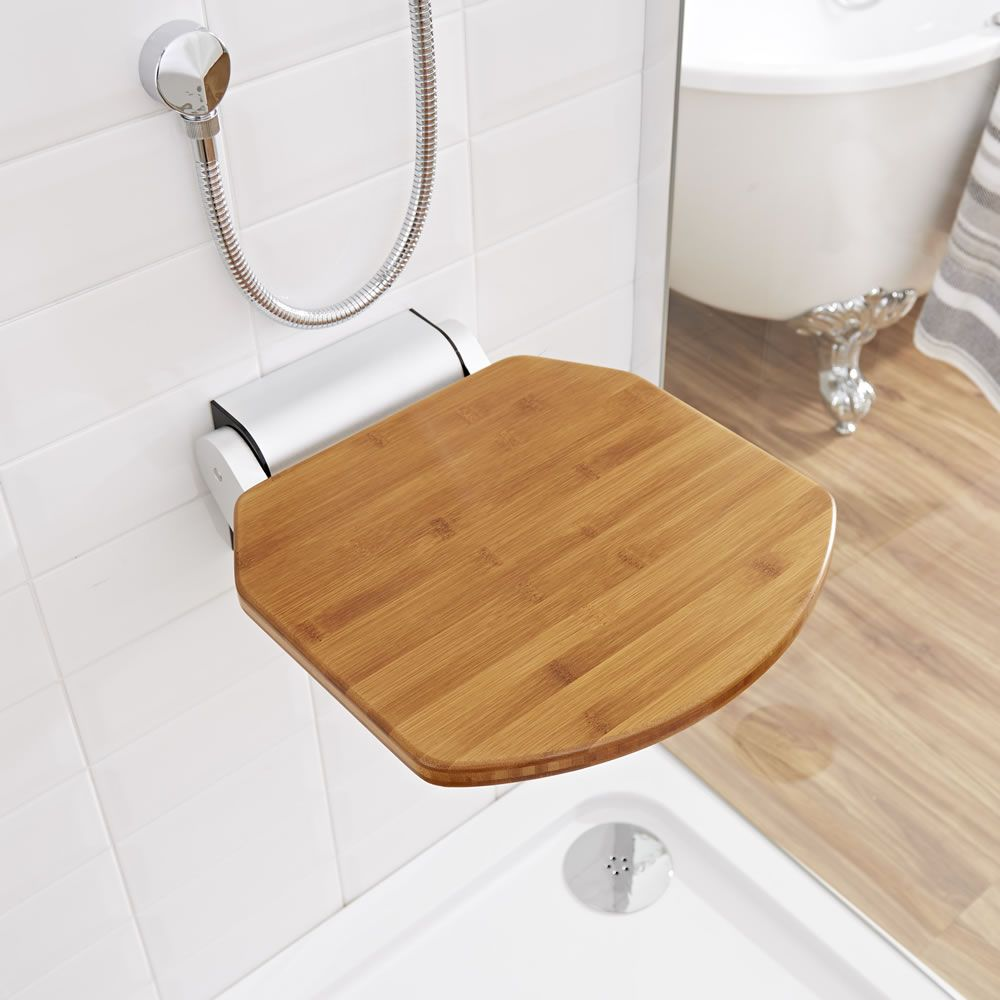 Modern Bamboo Folding Shower Seat Narrow Base