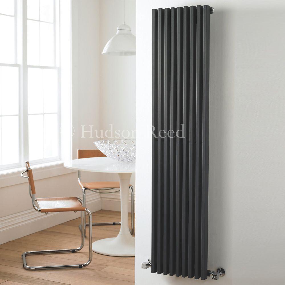 fin anthracite vertical single panel designer radiator 63 x 13 5. Black Bedroom Furniture Sets. Home Design Ideas