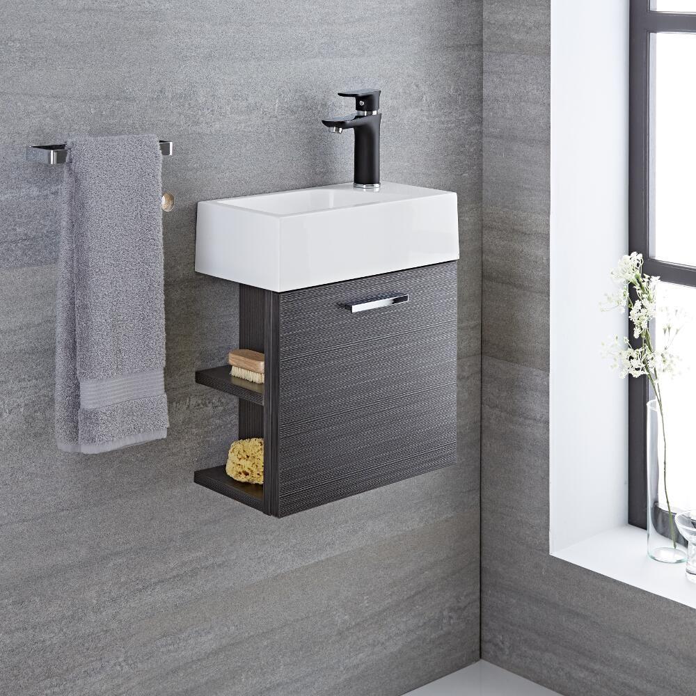 Wall Bathroom Vanity: 16'' Gray Wall-Mount Bathroom Vanity