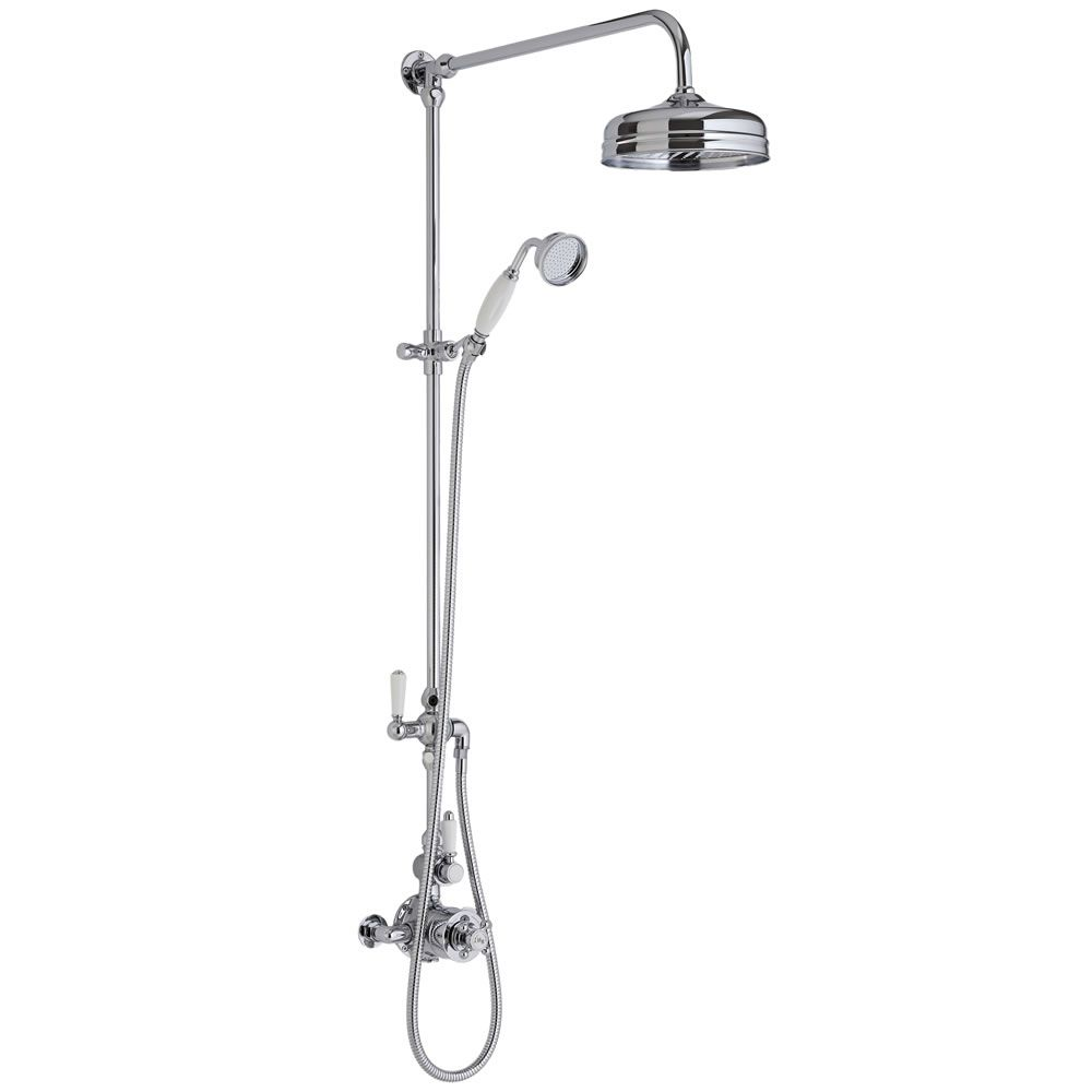 traditional grand rigid riser kit with twin thermostatic shower faucet valve. Black Bedroom Furniture Sets. Home Design Ideas