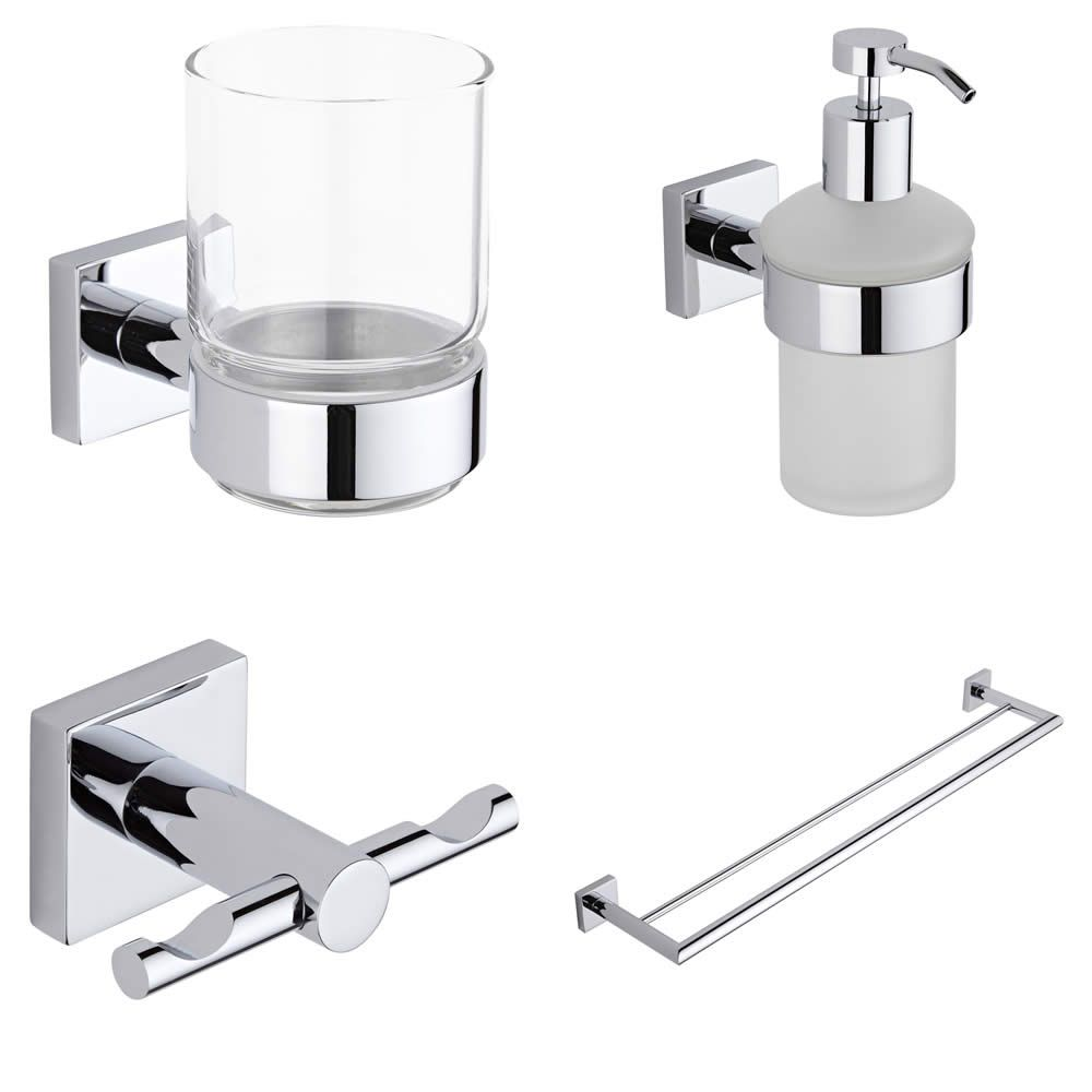 Liso chrome 4 piece bathroom accessory set Traditional bathroom accessories chrome