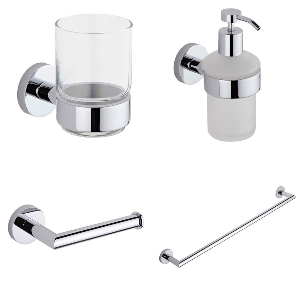 Prise chrome 4 piece bathroom accessory set Traditional bathroom accessories chrome
