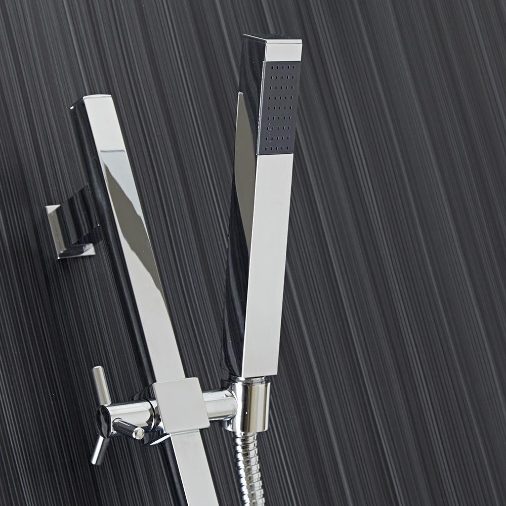 chrome square slide rail shower kit with square handset. Black Bedroom Furniture Sets. Home Design Ideas