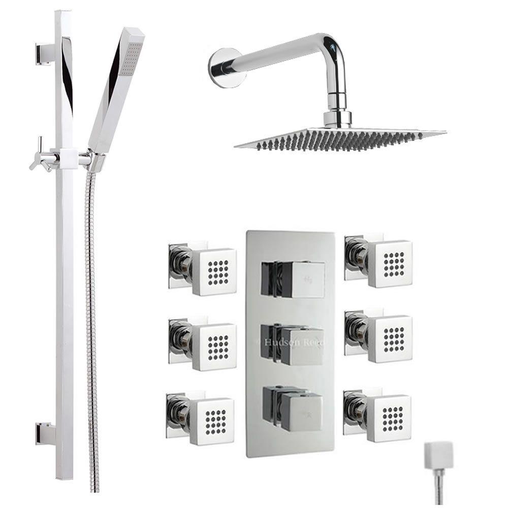 Thermostatic Shower System with Slider Rail Kit & 6 Body Spray Jets