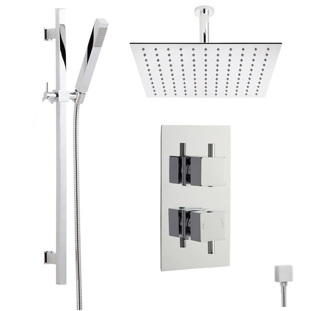 Astbury Twin Concealed Thermostatic Shower With Diverter, Square ...