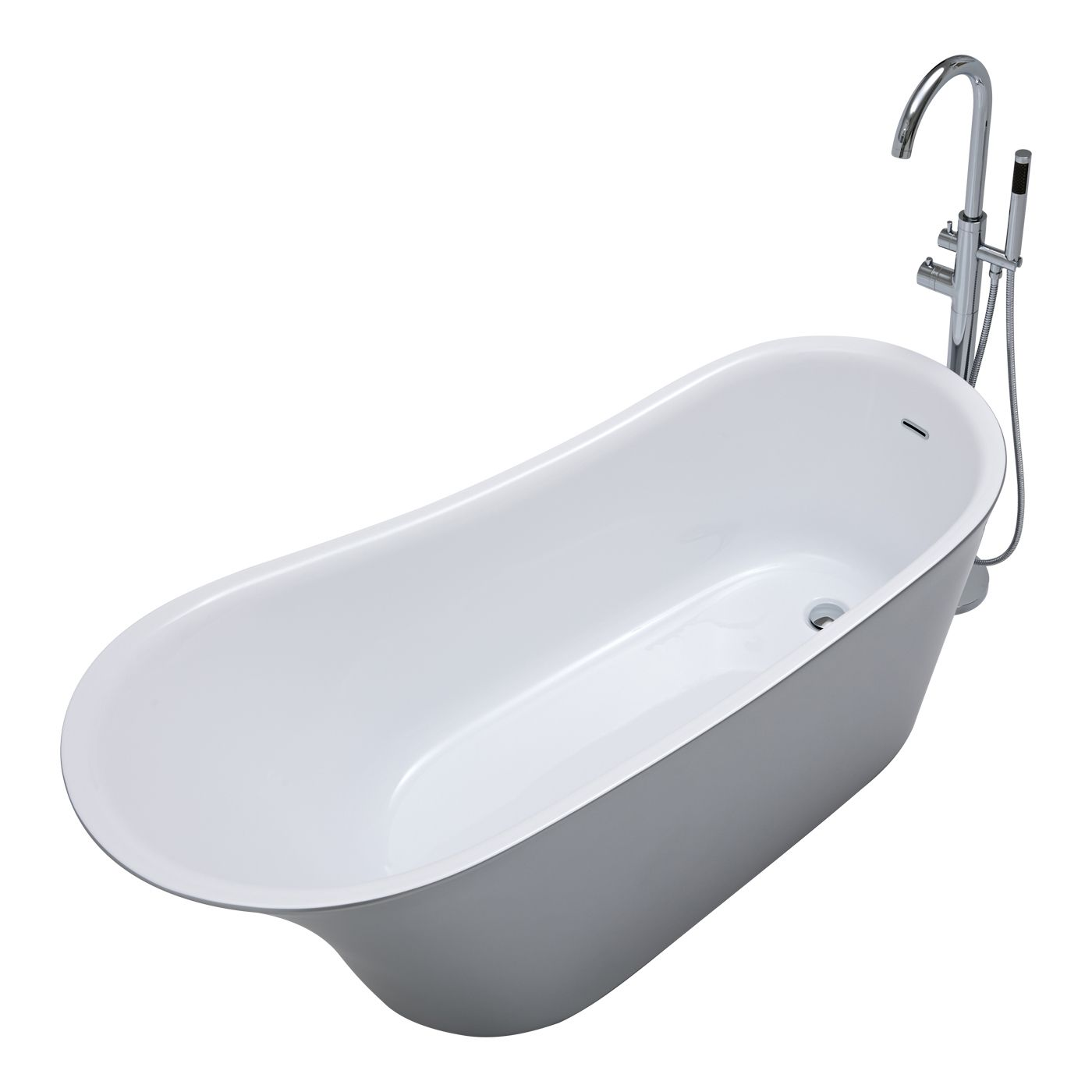 Modern Silver Freestanding Single Ended Bath Tub 70\