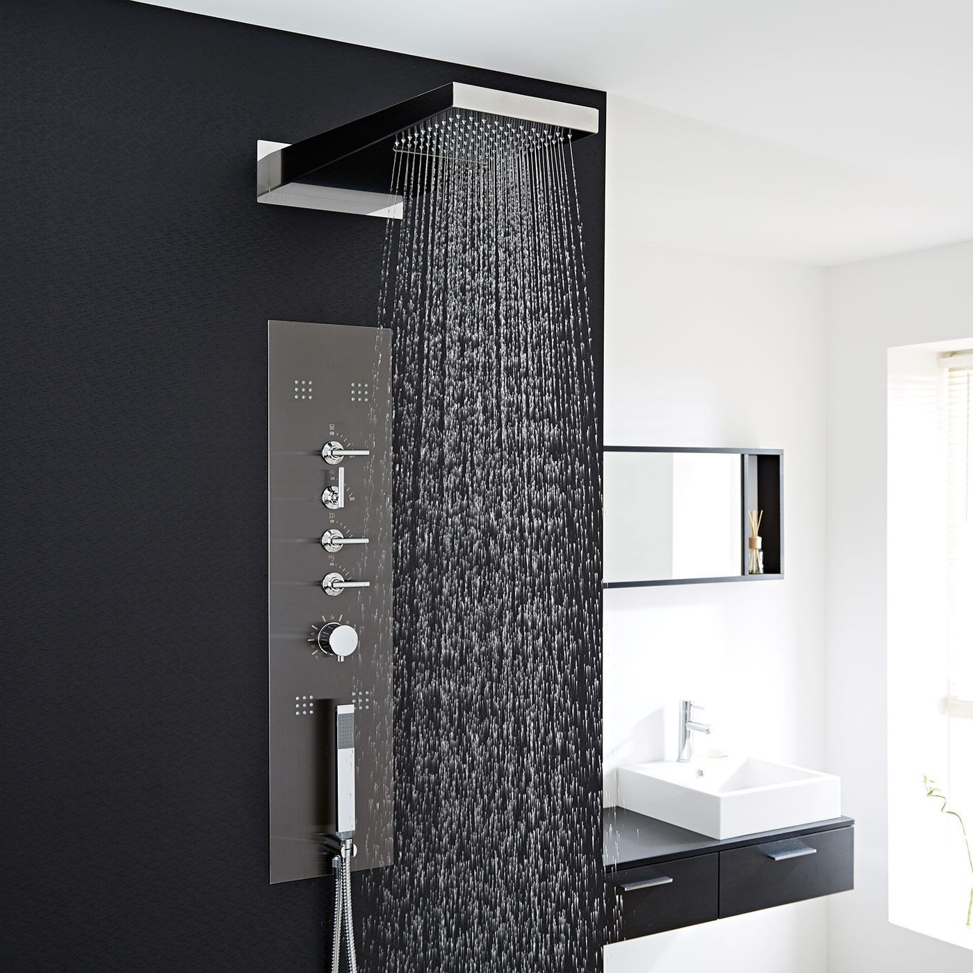 concealed thermostatic shower panel with waterfall head. Black Bedroom Furniture Sets. Home Design Ideas
