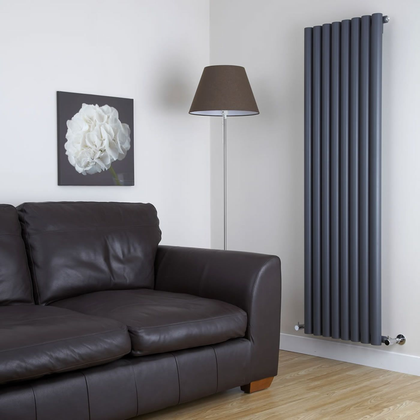 Savy anthracite vertical single panel designer radiator 70 x 18 5 for Contemporary radiators for living room