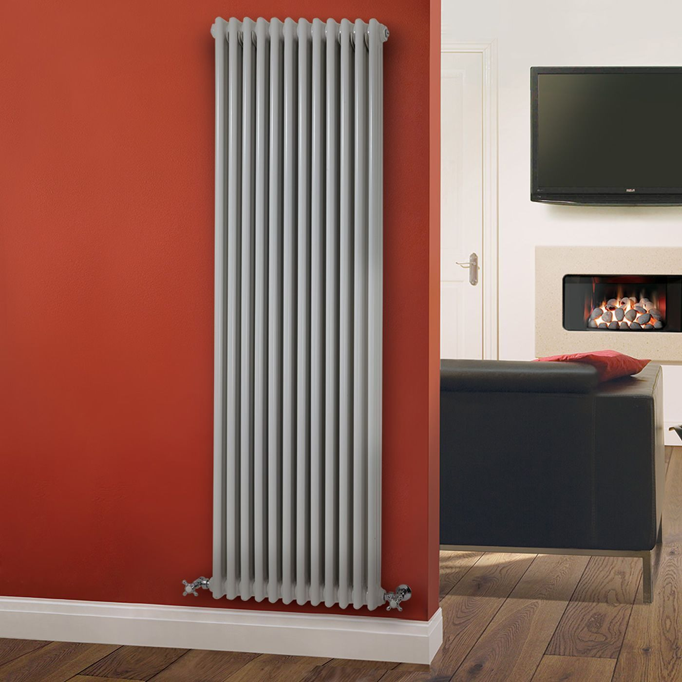 regent white vertical 3 column traditional cast iron style radiator x. Black Bedroom Furniture Sets. Home Design Ideas