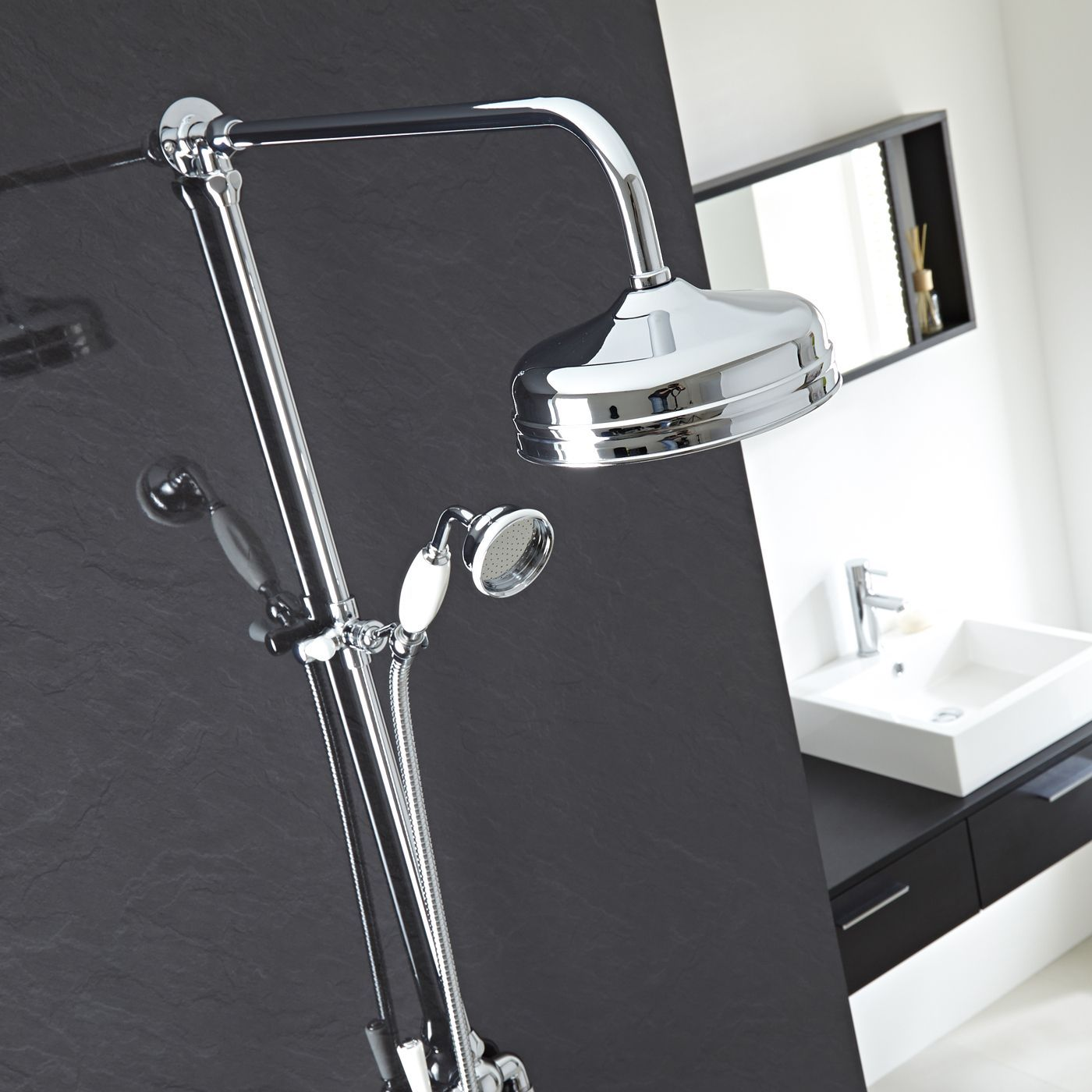 dual exposed traditional thermostatic shower valve with. Black Bedroom Furniture Sets. Home Design Ideas