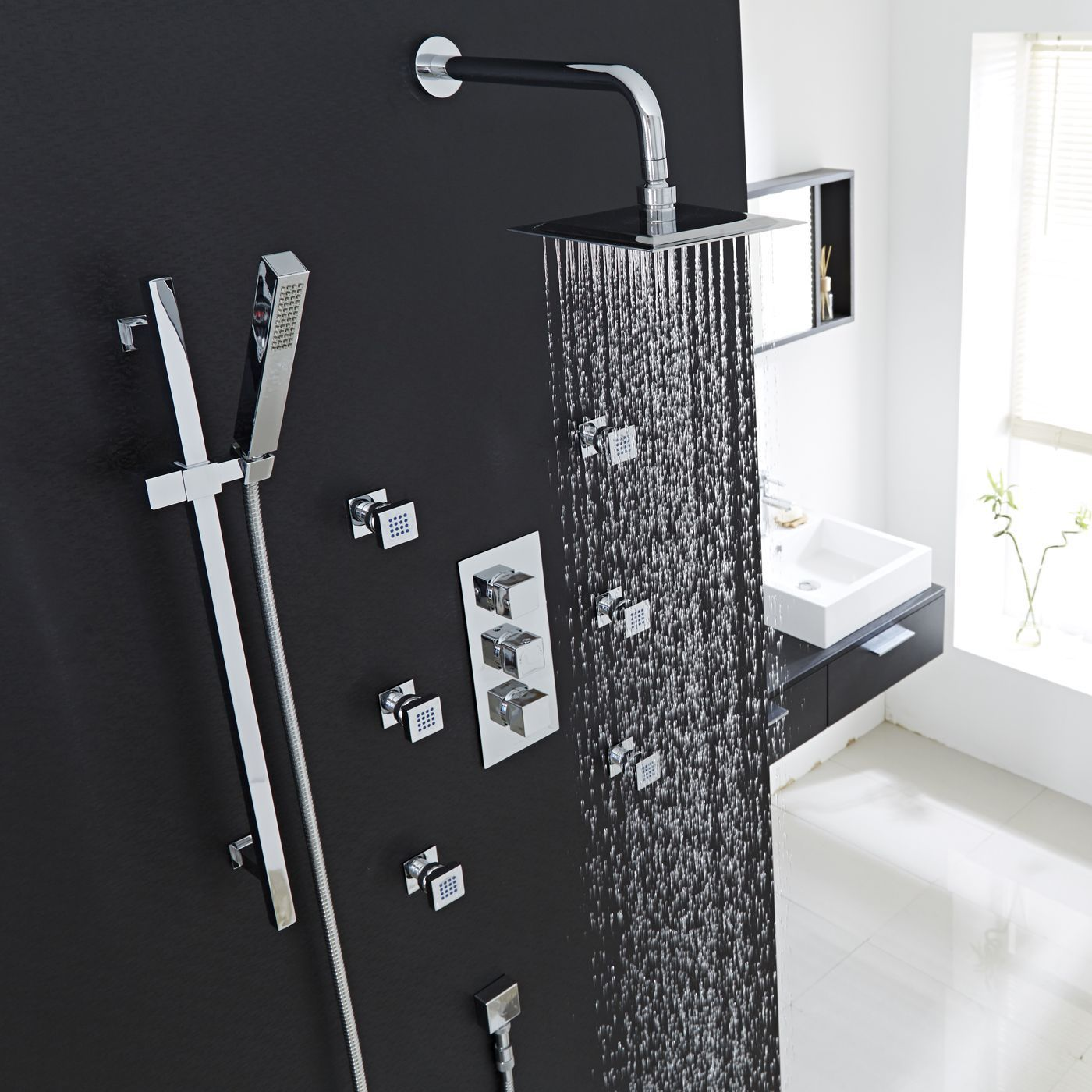 thermostatic shower system with slider rail kit wall arm 6 body jets. Black Bedroom Furniture Sets. Home Design Ideas