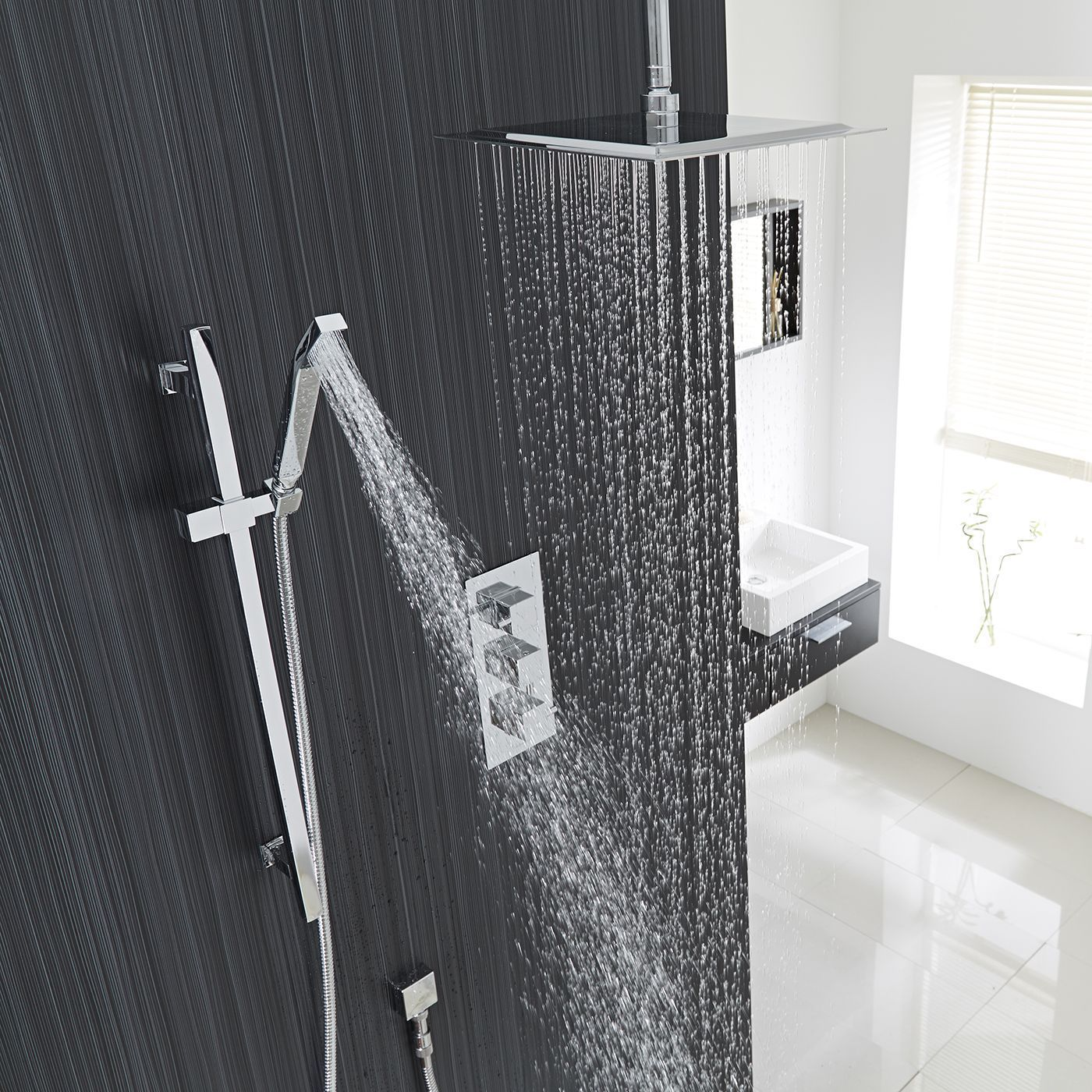 Square Thermostatic Shower System With 12 Quot Ceiling Head