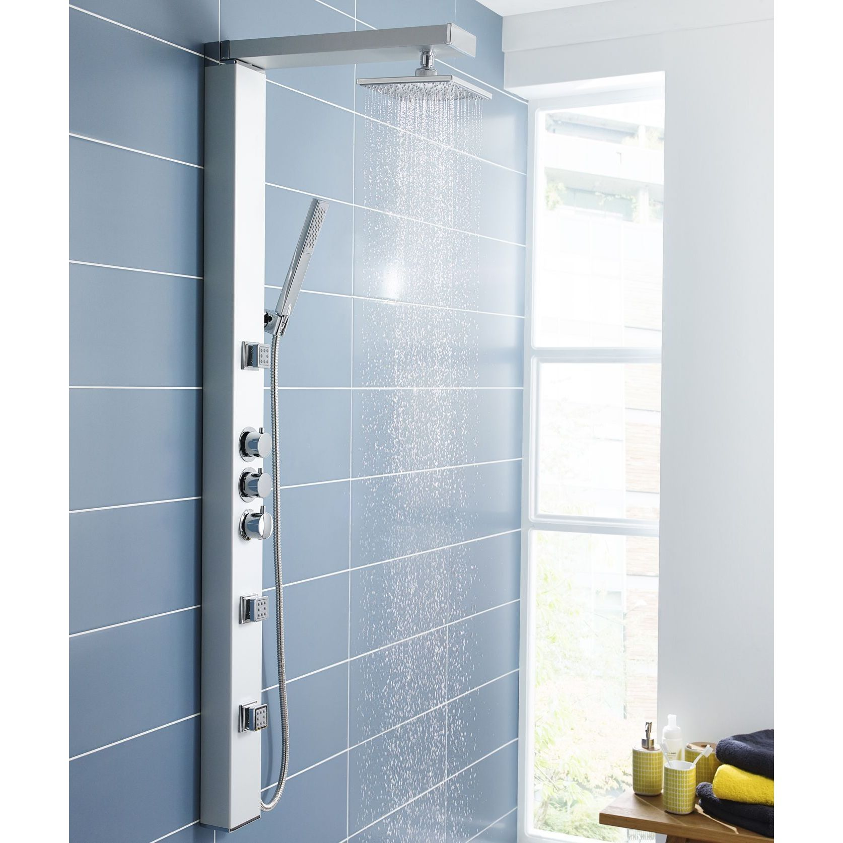 Thermostatic Shower System with Ceiling Arm, Slide Rail Kit & Body ...