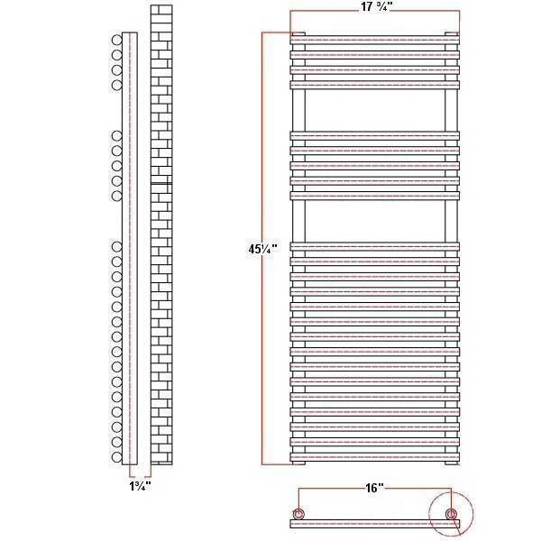 Ischia Hydronic White Heated Towel Warmer 45 25 Quot X 17 75 Quot