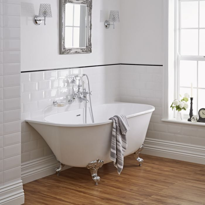 "Acrylic Back to Wall Freestanding Bath Tub 60"""