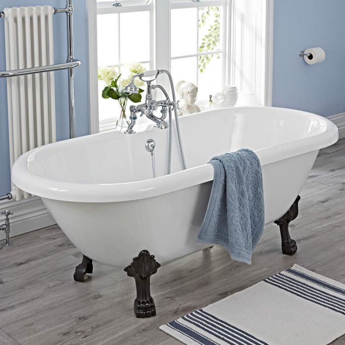 """Traditional Acrylic Double Ended Roll Top Freestanding Bath Tub 70"""""""
