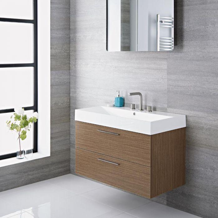Langley - 35'' Oak Wall-Mount Bathroom Vanity